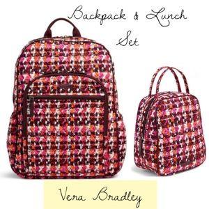 Vera Bradley backpack lunch bag set Houndstooth